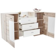 Sideboard Malaga - Eichefarben/Weiß, MODERN, Holz/Holzwerkstoff (179/91/45cm)