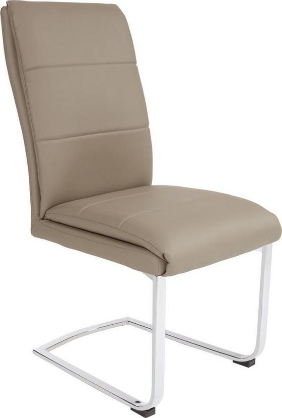 Houpací Židle Simone - barvy chromu/jílová barva, Moderní, kov/textil (44/100/66cm)
