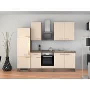 Küchenblock Eico 270 cm Magnolie - Edelstahlfarben/Eichefarben, MODERN, Holzwerkstoff (270cm) - MID.YOU