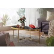 Couchtisch Glas Oval Schwarz/Goldfarben - Goldfarben/Schwarz, Design, Glas/Metall (110/56/41cm) - MID.YOU