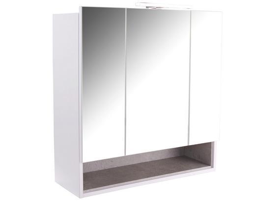 Spiegelschrank Techno - Weiß, MODERN, Holzwerkstoff (80cm)