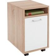Rollcontainer Eiche/Weiß Laurenc 33x59,5x38 cm - Eichefarben, MODERN, Holz/Kunststoff (33/59,5/38cm)