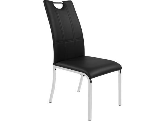 Stolička Mandy - čierna/chrómová, Konvenčný, kov/textil (42/96/60cm)