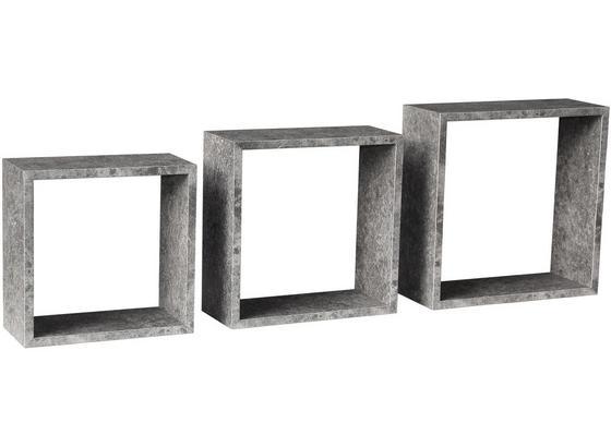 Nástenný Regál Simple 3 - sivá, Moderný, kompozitné drevo (30/30/12cm)