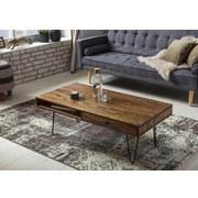Couchtisch Echtholz mit Ablage + Schubladen Bagli, Sheesham - Sheeshamfarben/Schwarz, Design, Holz/Metall (117/60/43cm) - MID.YOU