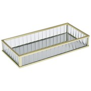 Dekotablett Callida - Klar/Goldfarben, Trend, Glas/Metall (20/3/10cm) - Luca Bessoni