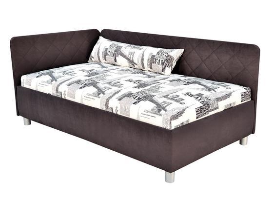 Polsterbett mit Bettkasten 110x200 Sorbona Grau/Gemustert - Silberfarben/Schwarz, KONVENTIONELL, Textil (110/200cm)