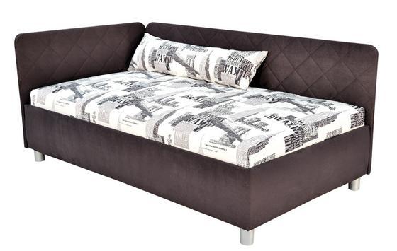 Polsterbett Sorbona 110x200 Grau/gemustert - Silberfarben/Schwarz, KONVENTIONELL, Textil (110/200cm)