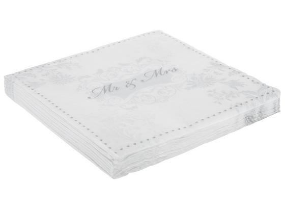 Servítky Mr. & Mrs. Silver - biela/strieborná, papier (33/33cm)