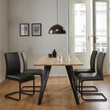 Jedálenský Stôl Gino 160cm - farby dubu/čierna, Moderný, kov/drevo (160/90/76cm) - Modern Living