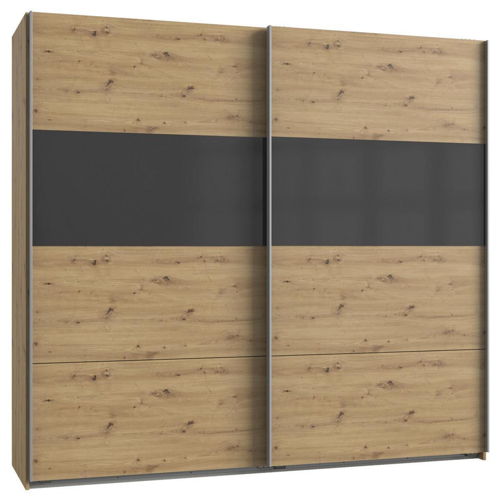 skříň s posuvnými dveřmi Bramfeld,dub Artisan/sklo Šedé