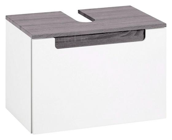 Waschbeckenunterschrank Siena 60cm Weiß/eiche - Weiß, MODERN, Holzwerkstoff (60/40/35cm)
