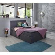 Boxbett Carolina 140x200 Grau - Schwarz/Grau, KONVENTIONELL, Holz/Textil (140/104/209cm)