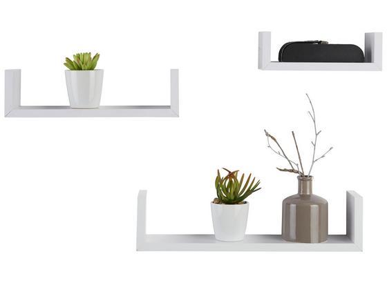 Sada Nástěnných Polic U-bord - bílá, kompozitní dřevo (42/32/22/10/10/8,5/7cm) - Modern Living