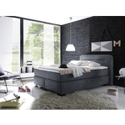 Boxspringbett mit Topper 140x200 Maine - Anthrazit/Schwarz, KONVENTIONELL, Textil (140/200cm) - MID.YOU