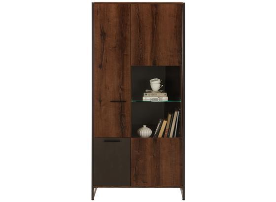Vitrína Steel - farby dubu/hnedá, Štýlový, kov/kompozitné drevo (88/189/40cm) - Modern Living
