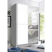 Schwebetürenschrank mit Spiegel 125cm Slim, Weiß - Weiß, Basics, Glas/Holzwerkstoff (125/195,5/38cm)