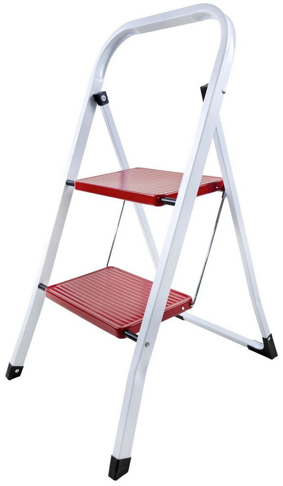 Összecsukható Fellépő Stabil Stabil - piros/fehér, konvencionális, fém (47/54,5/82cm)