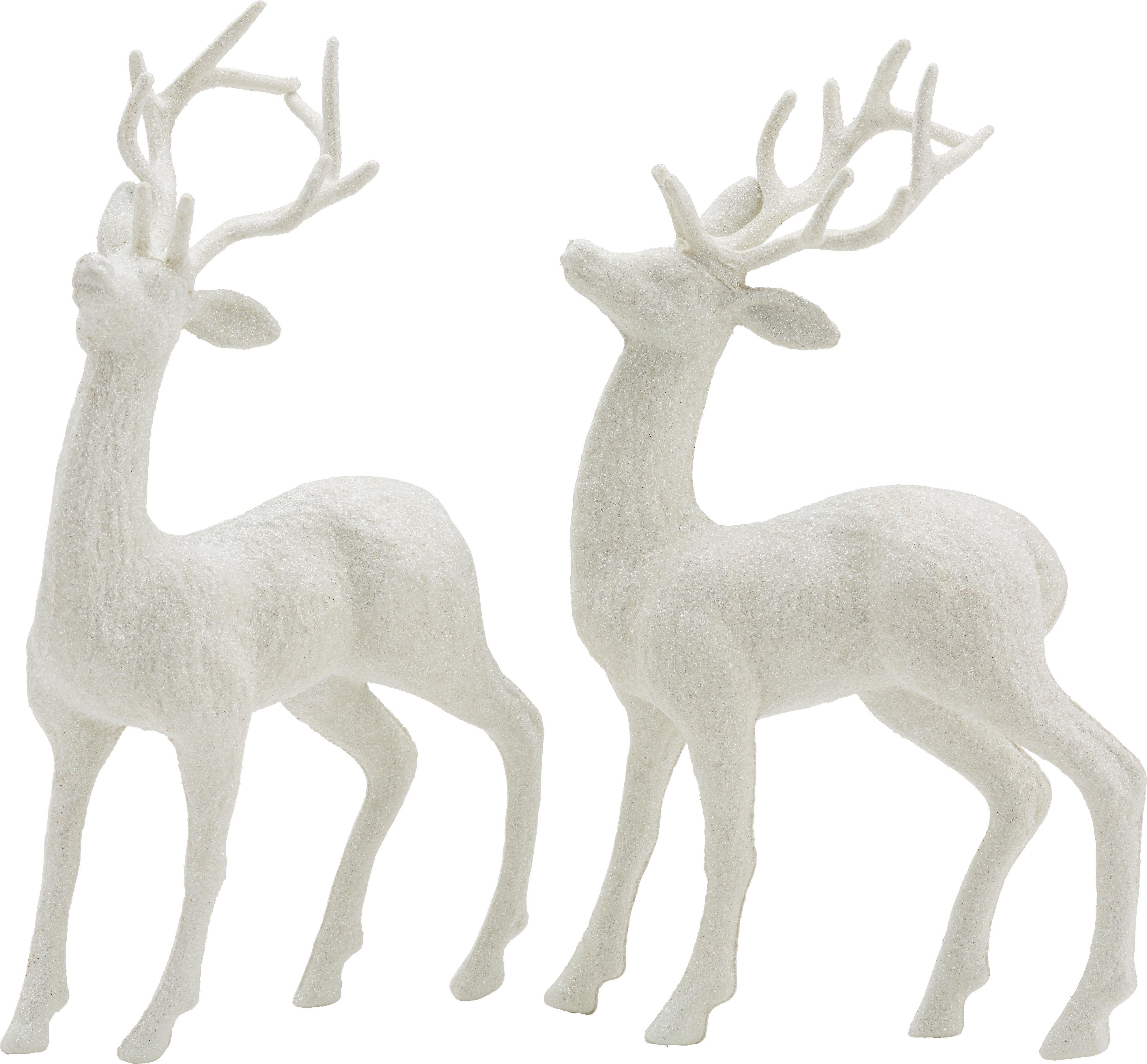 Zvířátko Dekorační Sob -  2-dielny  Set - bílá/měděné barvy, umělá hmota (14/4/26cm) - MÖMAX modern living