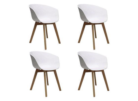 Stuhl-Set Noan 4-Er Set Weiß - Naturfarben/Weiß, MODERN, Holz/Kunststoff (60/78,5/44cm) - Livetastic