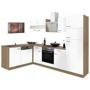 Eckküche Economy L 280cm Eiche/Weiß - Eichefarben/Weiß, Basics, Glas/Holzwerkstoff (172/280cm) - MID.YOU