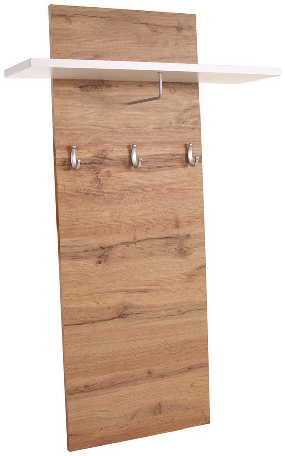 Garderobenpaneel Rivoli - Eichefarben/Weiß, MODERN, Holzwerkstoff (80/130/21,6cm)