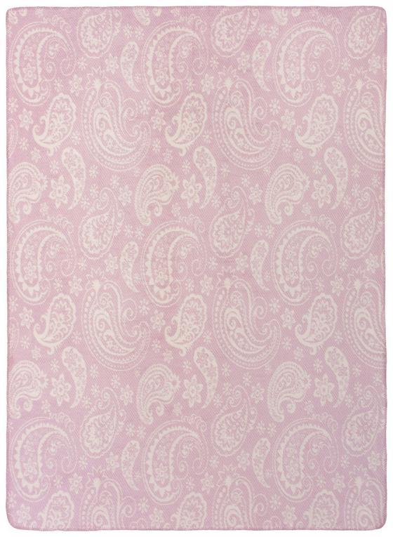 Wohndecke Jaquard 150x200 cm - Altrosa/Weiß, MODERN, Textil (150/200cm)