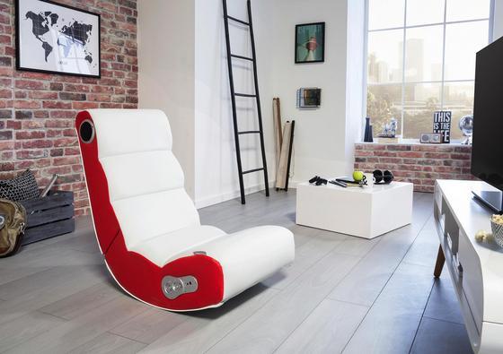 Gamingstuhl in Weiß und Rot mit Lautsprecher