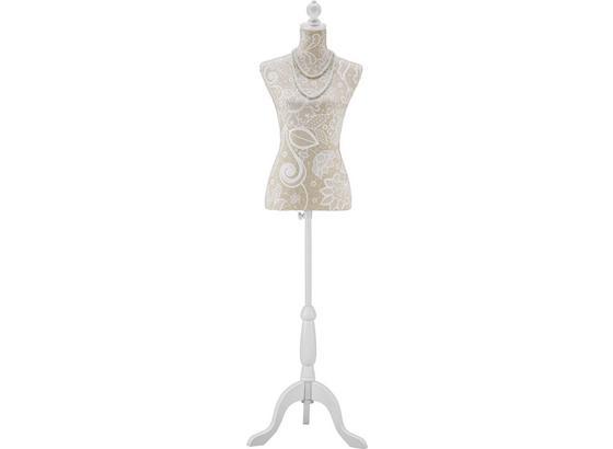 Dekorační Busta Mannequin - bílá/béžová, Romantický / Rustikální, kompozitní dřevo/textil (35/170/21cm) - Mömax modern living