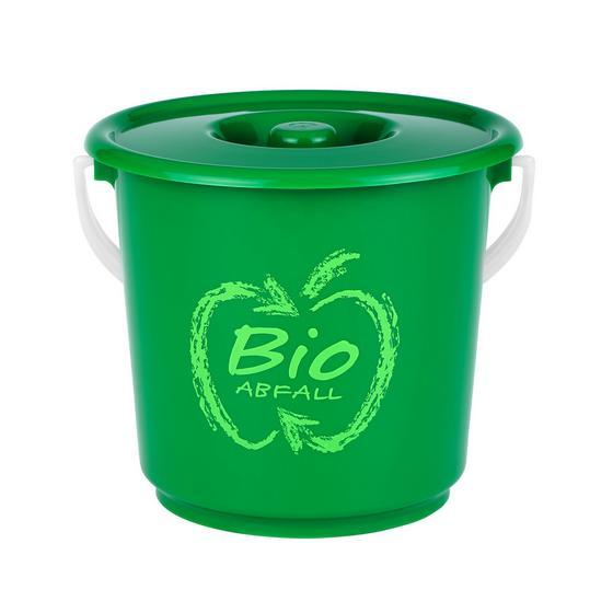 Abfalleimer H50 für Bioabfall - Weiß/Grün, KONVENTIONELL, Kunststoff (18/17cm)