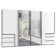 Schwebetürenschrank mit Spiegel + Laden 350cm Level 36a, Weiß - Weiß, Basics, Holzwerkstoff (350/216/65cm) - MID.YOU
