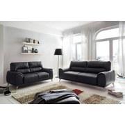 Zweisitzer-Sofa Frisco - Chromfarben/Schwarz, MODERN, Textil (166/92/96cm)