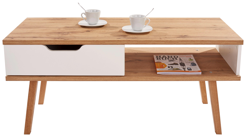 Konferenční Stolek Turin - bílá/barvy dubu, Moderní, dřevo/dřevěný materiál (110/50/50cm)