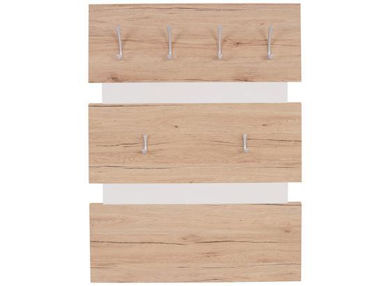 Vešiakový Panel Moya - farby dubu/biela, Moderný, kompozitné drevo/plast (70/99/2cm)