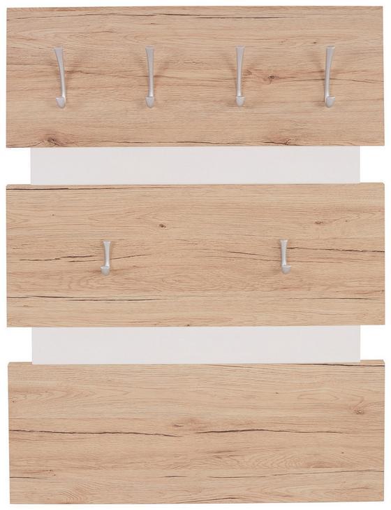 Vešiakový Panel Moya - farby dubu/biela, Moderný, umelá hmota/drevený materiál (70/99/2cm)