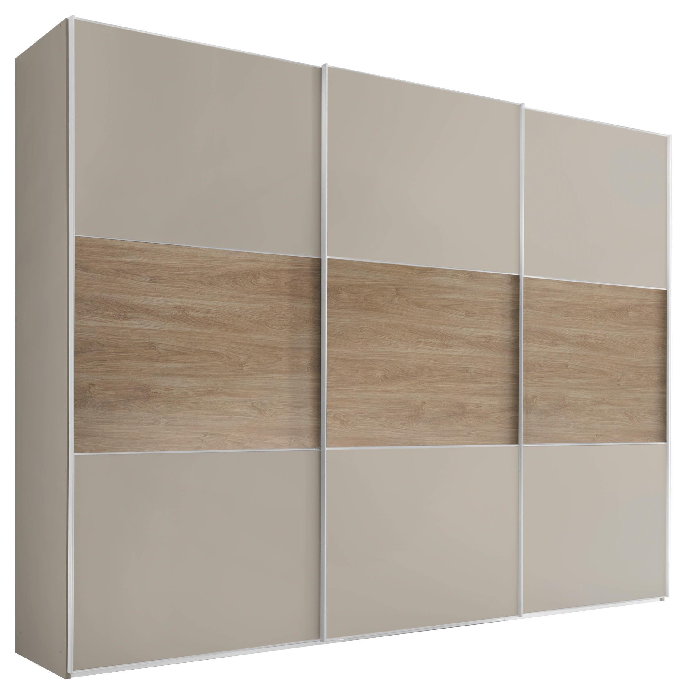Schwebetürenschrank Includo 249cm Sand/puccini   Sandfarben/Eichefarben,  MODERN, Holzwerkstoff (249