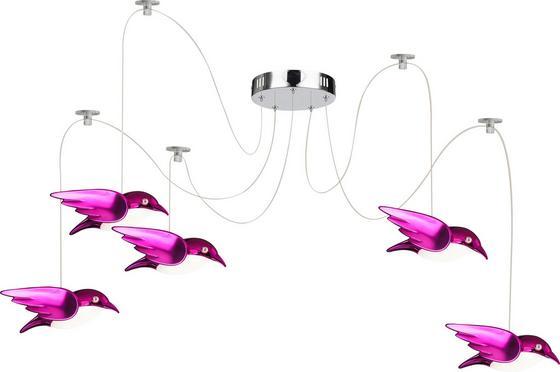 LED-Deckenleuchte Vogel Pink - Pink, MODERN, Kunststoff/Metall (20cm)
