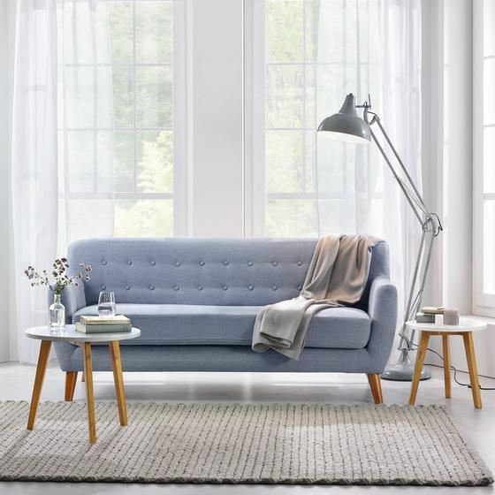 Pohovka Xavier - šedá/modrá, dřevo/textil (176/81/76cm) - Mömax modern living