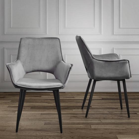 Stolička Valentine - čierna/tmavosivá, Moderný, kov/drevo (66/92/47cm) - Mömax modern living