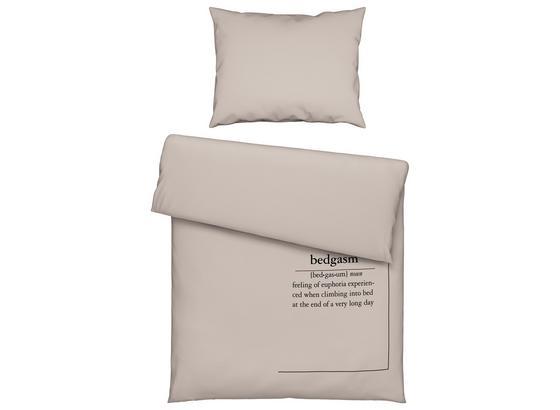 Posteľná Bielizeň Jersey Words Grau 140x200cm - piesková, Moderný, textil (140/200cm) - Premium Living