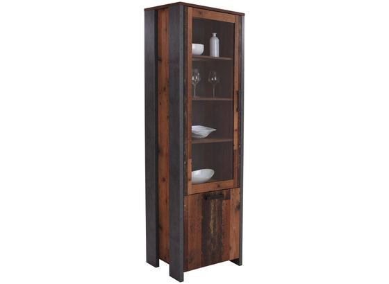 Vitrína Clif - tmavě šedá, Moderní, kov/kompozitní dřevo (62/205/42cm)