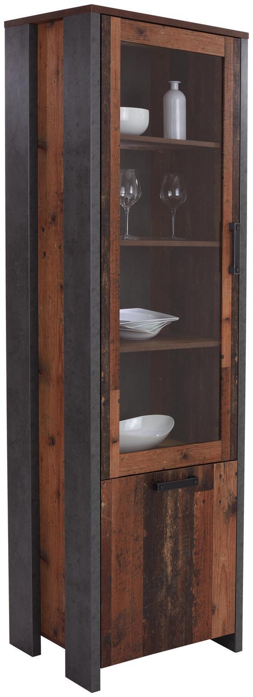 Vitrine Clif - Dunkelgrau, MODERN, Glas/Holzwerkstoff (62/205/42cm)