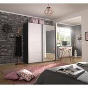 Schwebetürenschrank Belluno B:181cm Grau/Weiß/spiegel - Dunkelgrau/Weiß, MODERN, Holzwerkstoff (181/210/62cm)