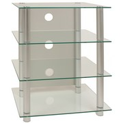 TV-Regal Blados B: 54 cm Silber, Glas - Silberfarben, KONVENTIONELL, Glas/Metall (54/70/45cm) - Livetastic
