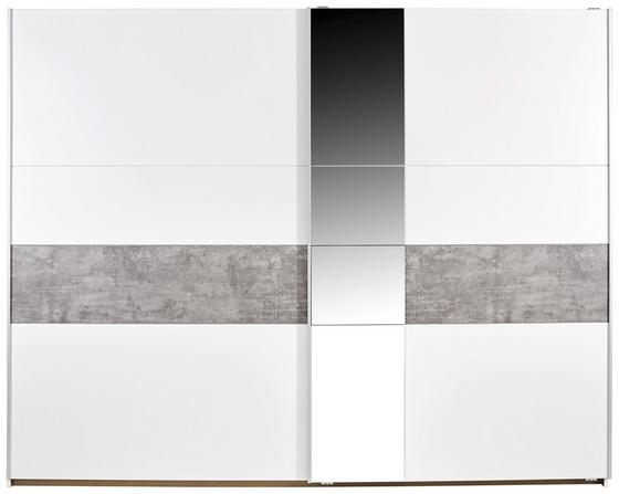 Skříň S Posuvnými Dveřmi Korbach - bílá/šedá, Moderní, dřevěný materiál (261/210/59cm)