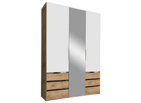 Drehtürenschrank mit Spiegel + Laden 150cm Level 36a, Weiß - Eichefarben/Weiß, MODERN, Glas/Holzwerkstoff (150/216/58cm)