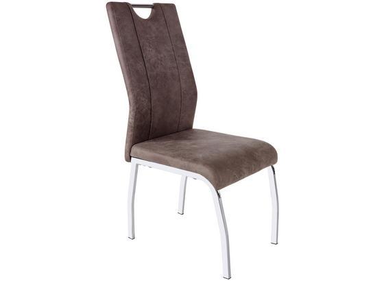 Stolička Rudi Ii - svetlohnedá/chrómová, Moderný, kov/textil (44/98/56cm)
