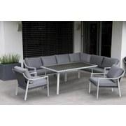Loungegarnitur Hartford - Silberfarben/Grau, MODERN, Glas/Textil (266/204cm)