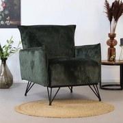 Sessel Mika Luxury B: 72 cm Grün - Schwarz/Grün, Design, Textil (72/85/77cm) - Livetastic