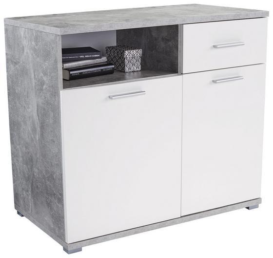Komoda Roma 2 - sivohnedá/biela, Moderný, kompozitné drevo (100/80/45cm)